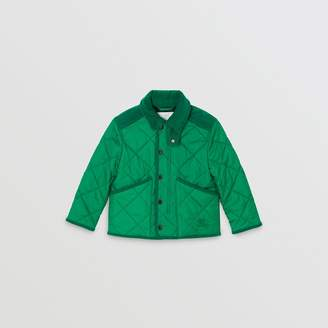 Burberry Childrens Corduroy Trim Diamond Quilted Jacket