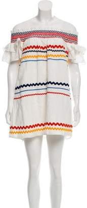Red Carter Off-The-Shoulder Embroidered Dress