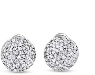 14k White Gold CT Natural Diamond Pave Dome Ball Earrings
