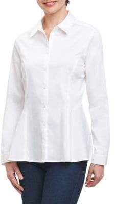 Foxcroft Long-Sleeve Side Peplum Button-Down Shirt