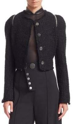 Alexander Wang Tweed Zipper Trim Fitted Jacket