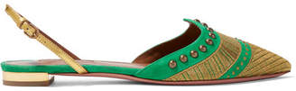 Aquazzura Marrakech Embellished Suede Point-toe Flats - Green