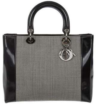Christian Dior Houndstooth Large Lady Bag