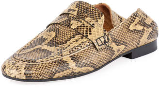 Isabel Marant Fezzy Snake-Print Fold-Down Loafers