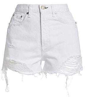 Rag & Bone Women's Nina High-Rise Distressed Denim Shorts