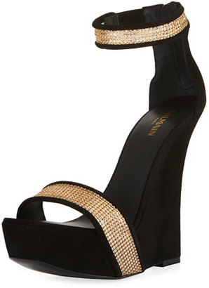 Balmain Samara Crystal Platform Wedge 175mm Sandal, Black $1,750 thestylecure.com