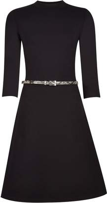 Dorothy Perkins Womens Black 3/4 Sleeve Fit And Flare Dress