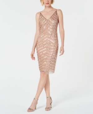 Adrianna Papell Hand-Beaded Sheath Dress