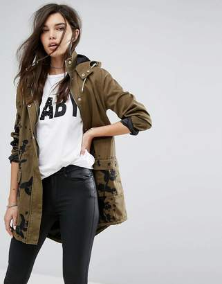 Missguided Khaki Embroidered Hooded Parka Jacket