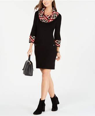 Jessica Howard Cowl-Neck Sweater Dress