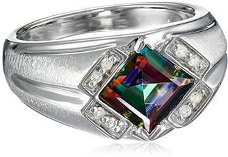 Gents Men's Sterling Silver Mystic Fire Topaz and Diamond Ring (0.1cttw)