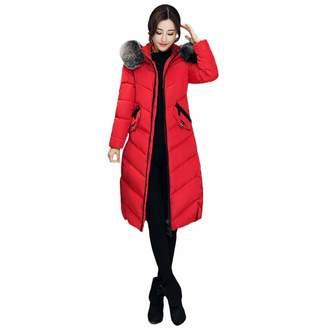 PENATE Women's Down Jackets Girl Winter Warm Long Plush Hooded Cotton Padded Coat