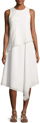 Rag & Bone Fernay Paneled Sleeveless Handkerchief-Hem Midi Dress, Bright White