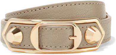 Balenciaga Balenciaga - Metallic Edge Textured-leather And Gold-tone Bracelet - Beige