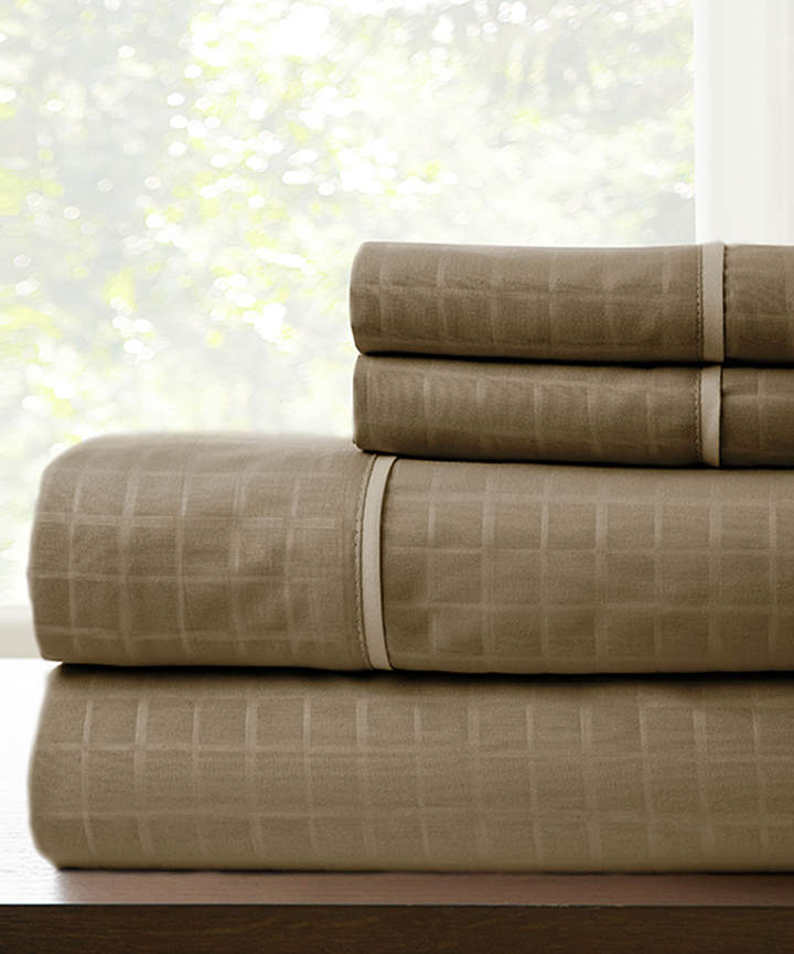 Mocha Windowpane Embossed Microfiber Sheet Set