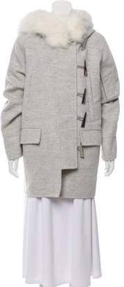 Prabal Gurung 2015 Fox Fur-Trimmed Wool Coat w/ Tags
