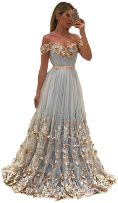 Uryouthstyle017 Off Shoulder Long A-line Prom Dresses with Butterfly