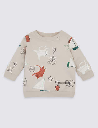 Marks and Spencer Pure Cotton Owl & Cat Sweatshirt