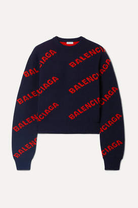 Balenciaga Cropped Intarsia Wool-blend Sweater - Navy