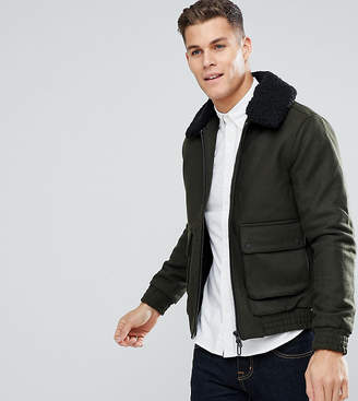 ONLY & SONS Wool Jacket with Detachable Fleece Collar