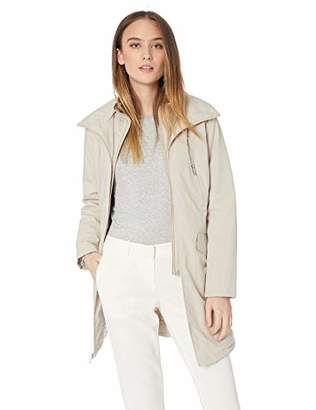 Kenneth Cole New York Women's Thigh Length Zip rain Jacket with stoweaway Hood in Collar