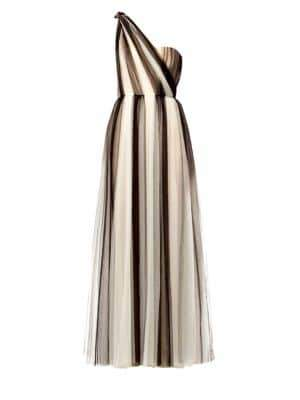 Carolina Herrera Two-Tone Tulle One-Shoulder A-Line Gown