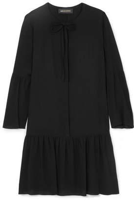 Vanessa Seward Fiona Pussy-bow Silk-crepe Mini Dress - Black