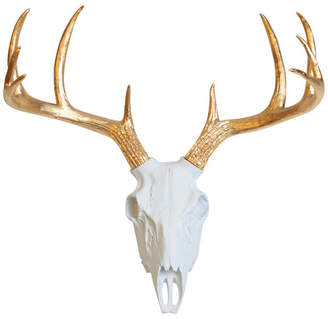 White Faux Taxidermy White Faux Resin Deer Skull Wall Mount