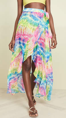 Kos Resort Rainbow Tie Dye Wrap Skirt