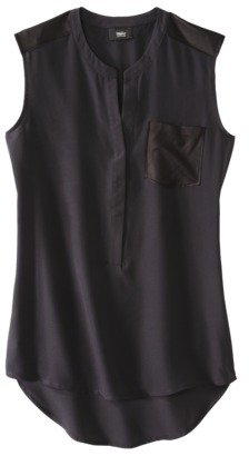 Mossimo Women's Sleeveless Blouse w/ Faux Leather Trim -Assorted Colors