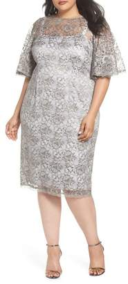 Adrianna Papell Flutter Sleeve Lace Sheath Dress (Plus Size)