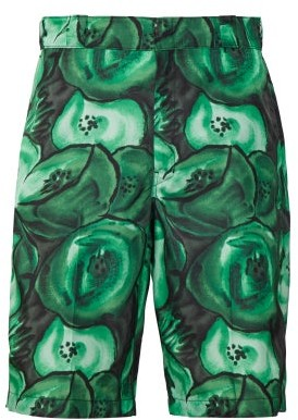 Prada Poppy Print Cotton Poplin Shorts - Mens - Green