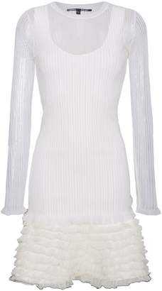 Proenza Schouler sheer overlay ribbed ruffle mini dress