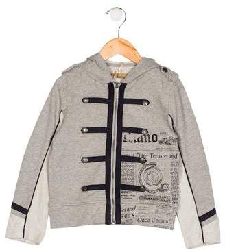 John Galliano Boys' Button-Accented Printed Hoodie w/ Tags