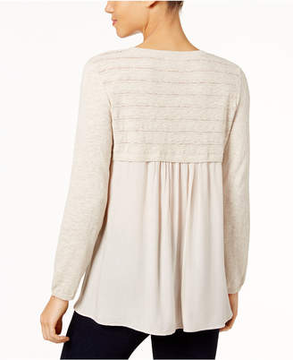 Style&Co. High-Low Contrast Sweater, Created for Macy's