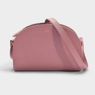 9092094e7ee955 A.P.C. Demi-Lune Bag In Dusty Pink Saffiano Leather