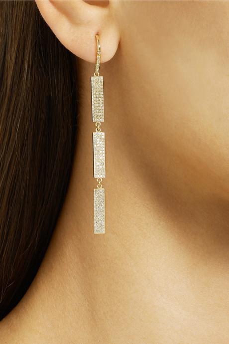 Jennifer Meyer 18-karat gold diamond drop earrings