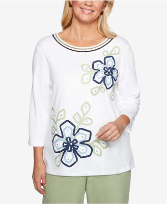 Alfred Dunner Greenwich Hills Ribbon-Flower Knit Top