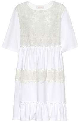 See by Chloe Lace-paneled jersey dress