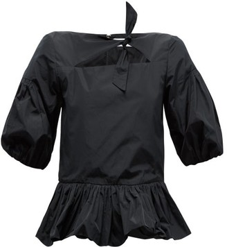 Molly Goddard Clara Puff Sleeve Crepe Peplum Top - Womens - Black