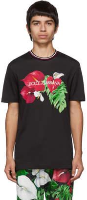 Dolce & Gabbana Black Anthurium T-Shirt