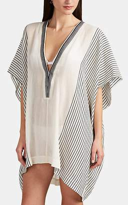 2ac4dfaf2d865 Su Women's Lamu Striped Cotton Gauze Short Caftan - White