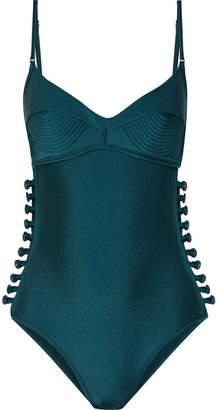 Zimmermann Melody Bullet Cutout Swimsuit - Emerald