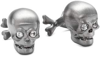 "Rotenier Novelty"" Sterling Silver Skull with Sapphire Cufflinks"