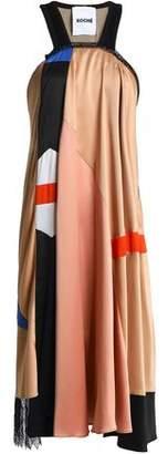 Koché Lace-Trimmed Color-Block Satin Dress
