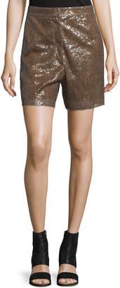 Maison Margiela Long Sequined Shorts, Tobacco