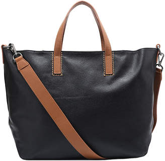 Brix And Bailey Large Black Pebbled Leather Top Handle Tote