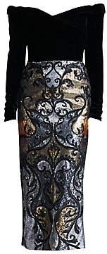 Marchesa Women's Off-The-Shoulder Velvet & Sequin Dress