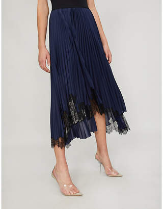 Helmut Lang Pleated satin and lace midi skirt