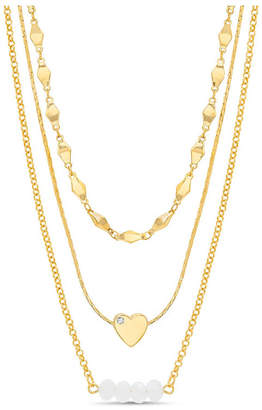 Kensie Women Rhinestone Heart And Beaded Bar Station Triple Layered Chain Necklace